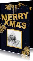 Kerstkaart label goud Xmas