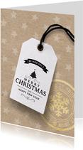 Kerstkaart label kraftpapier