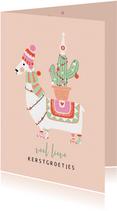 Kerstkaart lama met cactus