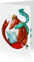 Kerstkaart lezen met vos