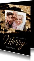 Kerstkaart luxe goud pailletjes foto sierlijk