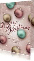 Kerstkaart magische kerstballen