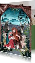 Kerstkaart Maria en Jozef bij het stalletje