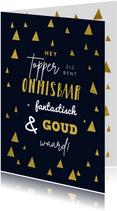Kerstkaart medewerker collega hip goud kerstbomen grafisch