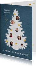 Kerstkaart medewerkers in kerstboom