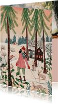 Kerstkaart meisje met konijnen in het bos
