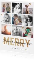 kerstkaart merry christmas fotocollage goudlook hartjes