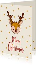 Kerstkaart Merry Christmas hert illustratie