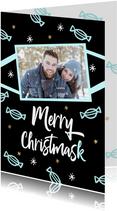 Kerstkaart Merry Christmask mondkapje