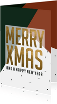 Kerstkaart | Merry Xmas and a happy new year | Groen/rood