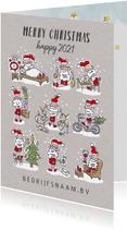 Kerstkaart met 9 kerstmannetjes met kerstspullen