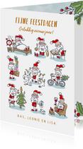 Kerstkaart met 9 kerstmannetjes
