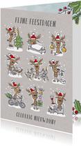 Kerstkaart met 9 rendieren met kerstmuts en kerstspullen