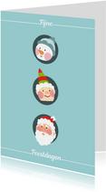 Kerstkaart met drie figuren blauw