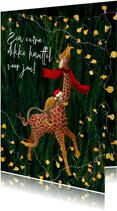 Kerstkaart met een aapje knuffel giraffe