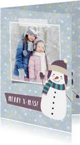 Kerstkaart met eigen foto, sneeuwpop illustratie en stippels