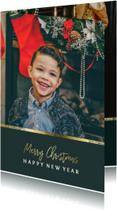 Kerstkaart met foto en gouden accent