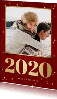Kerstkaart met foto, gouden 2020 en sterren