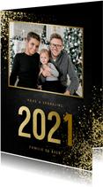 Kerstkaart met foto goudlook 2021 en spetters