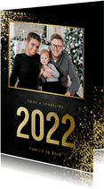 Kerstkaart met foto goudlook 2022 en spetters