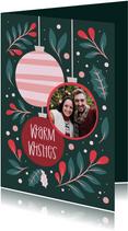 Kerstkaart met foto in kerstbal warm wishes