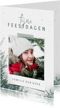 Kerstkaart met foto, kerstbomen en sneeuw