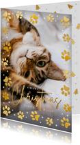 Kerstkaart met foto van je poes of kat en pootafdrukken
