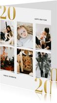 Kerstkaart met fotocollage en gouden 2020