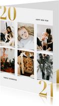 Kerstkaart met fotocollage en gouden 2021