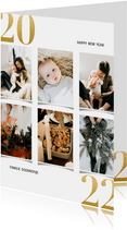 Kerstkaart met fotocollage en gouden 2022