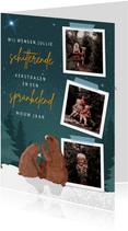 Kerstkaart met fotocollage en illustratie van 3 beren