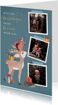 Kerstkaart met fotocollage en illustratie van bosdieren