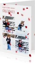 Kerstkaart met foto's en rode blaadjes