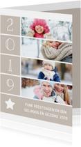Kerstkaart met foto's, ster en jaartal 2019