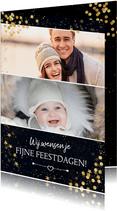 Kerstkaart met goud 2 foto's en confetti