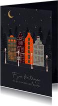 Kerstkaart met grachtenpanden op een winteravond