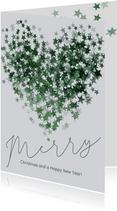 Kerstkaart met groen hart van sterren