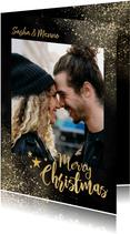 Kerstkaart met grote foto, gouden sneeuw 'Merry Christmas'