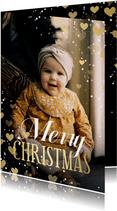 Kerstkaart met hartjeskader grote foto Merry Christmas