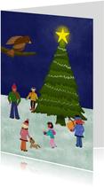 Kerstkaart met illustratie kerstboom mensen en dieren avond