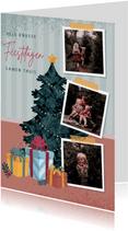 Kerstkaart met illustratie van kerstboom fotocollage