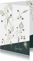 Kerstkaart met illustratie van takjes met besjes en blaadjes