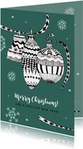 Kerstkaart met kerstballen en lintjes in zwart-wit