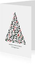 Kerstkaart met kerstboom botanisch licht