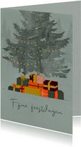 Kerstkaart met kerstboom en cadeautjes