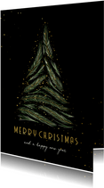 Kerstkaart met kerstboom van dennentakjes en goud