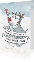 Kerstkaart met kerstman en rendier op wereldbol