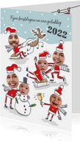 Kerstkaart met kerstmannen in de sneeuw met 6 foto's