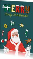 Kerstkaart met originele kerstman illustratie