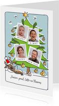 kerstkaart met rendier foto's in de boom